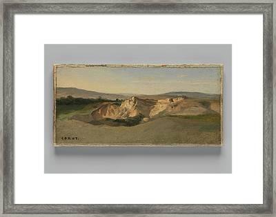 Italian Landscape Framed Print by Camille Corot