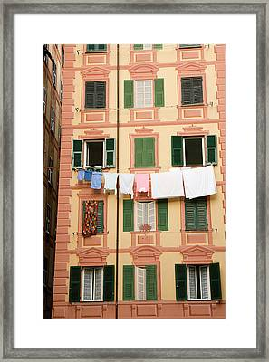 Italy, Camogli Laundry Hangs Framed Print by Jaynes Gallery