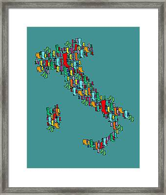 Italy Map Framed Print