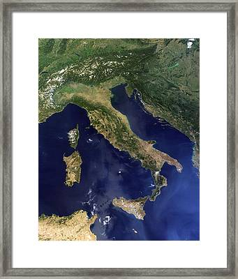 Italy, Satellite Image Framed Print by Science Photo Library