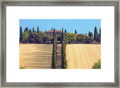 Italy, Tuscany - Farmhouse With Cypress Framed Print by Panoramic Images