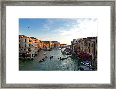 Italy, Venice The Bustling Riverfront Framed Print