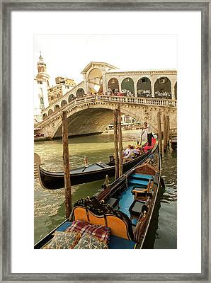 Italy, Venice Tourists Ride In Gondolas Framed Print