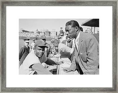 Jackie Robinson And Nat King Cole At Wrigley Field Framed Print