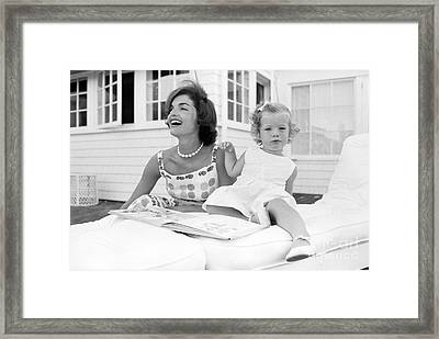 Jacqueline And Caroline Kennedy At Hyannis Port 1959 Framed Print by The Harrington Collection