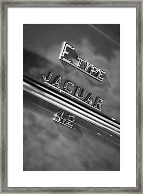 Jaguar E-type 4.2 Emblem -0065bw Framed Print by Jill Reger
