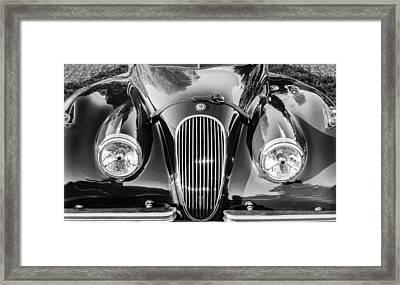 Jaguar Hood Grille -0023bw Framed Print