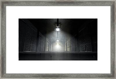 Jail Corridor And Cells Framed Print by Allan Swart