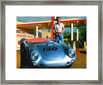 James Dean Filling His Spyder With Gas Framed Print