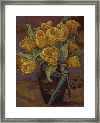 Yellow Tulips- And Buffalo Dreams Framed Print