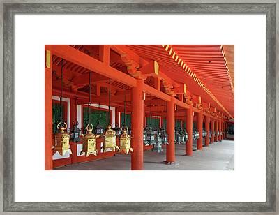Japan, Nara Hanging Lanterns At Kasuga Framed Print