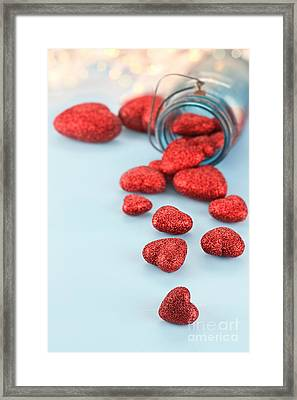 Jar Of Hearts Framed Print by Stephanie Frey