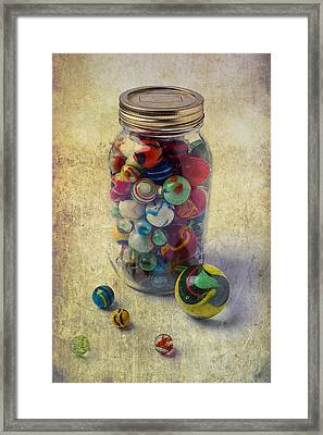 Jar Of Marbles Framed Print by Garry Gay