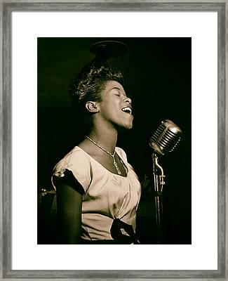 Jazz Singer Sara Vaughan  Framed Print by Mountain Dreams