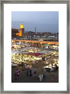 Jemaa El Fna At Dusk Marrakech Morocco Framed Print by Martin Turzak
