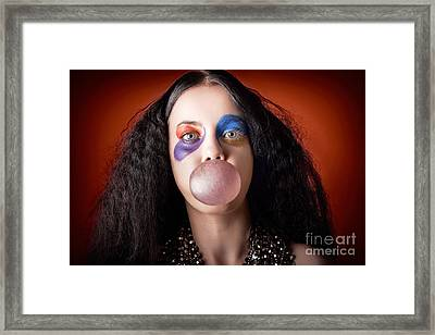 Jester Girl Blowing Bubblegum Ball Framed Print by Jorgo Photography - Wall Art Gallery