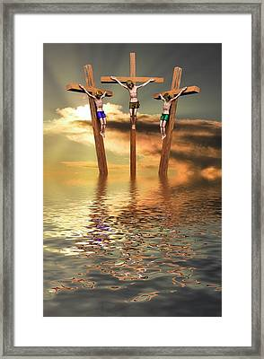 Jesus And Two Thieves On The Cross Framed Print