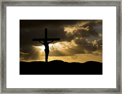 Jesus Christ Crucifixion On Good Friday Silhouette Framed Print by Matthew Gibson
