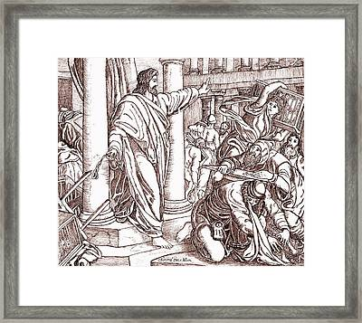 Jesus Cleansing The Temple Framed Print by Norma Boeckler