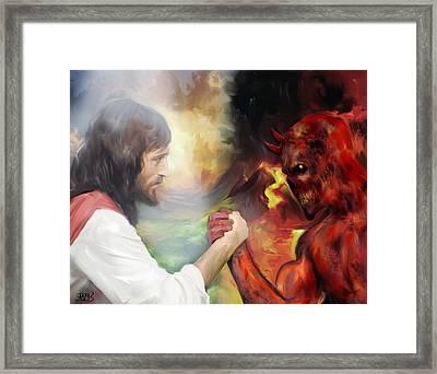 Jesus Vs Satan Framed Print