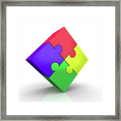 Jigsaw Puzzle Framed Print by Wladimir Bulgar