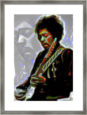Jimi Hendrix Framed Print by  Fli Art