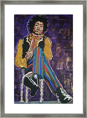 Framed Print featuring the painting Jimi Hendrix by Rachel Natalie Rawlins