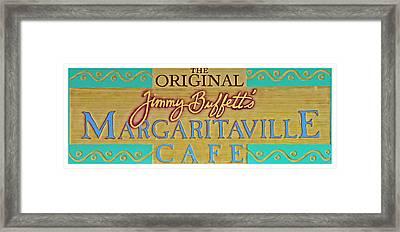 Jimmy Buffetts Margaritaville Cafe Sign The Original Framed Print by John Stephens