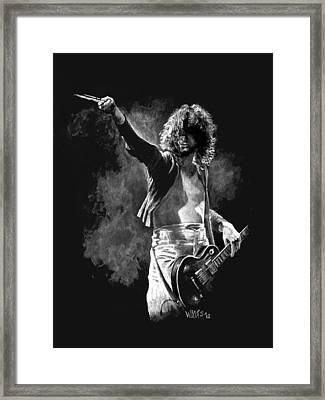 Jimmy Page Framed Print by William Walts
