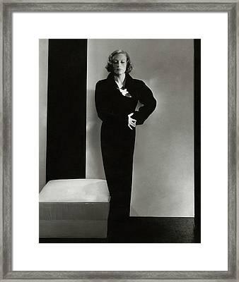 Joan Crawford Wearing A Schiaparelli Dress Framed Print by Edward Steichen