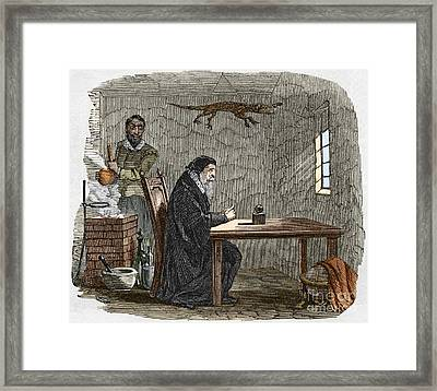 John Dee And Edward Kelly Framed Print by Sheila Terry