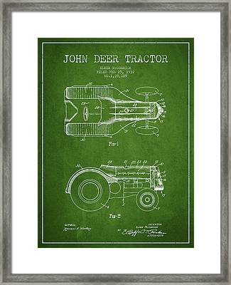 John Deer Tractor Patent Drawing From 1932 - Green Framed Print