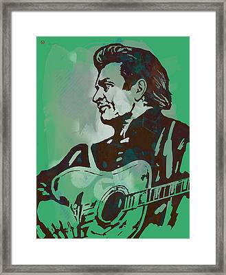 Johnny Cash - Stylised Etching Pop Art Poster Framed Print by Kim Wang