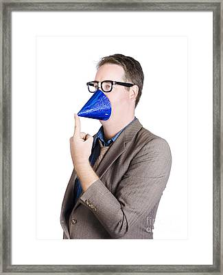 Joking Man Wearing Party Hat On Face. Party Animal Framed Print by Jorgo Photography - Wall Art Gallery