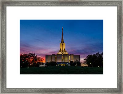 Jordan River Temple Sunset Framed Print by La Rae  Roberts