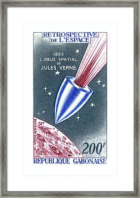 Jules Verne Commemorative Stamp Framed Print