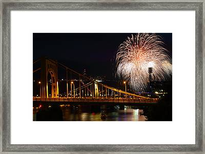 July 4th Fireworks In Pittsburgh Framed Print by Jetson Nguyen