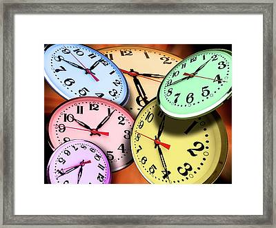 Jumbled Clock Times Framed Print