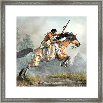 Jumping Horse Framed Print by Daniel Eskridge