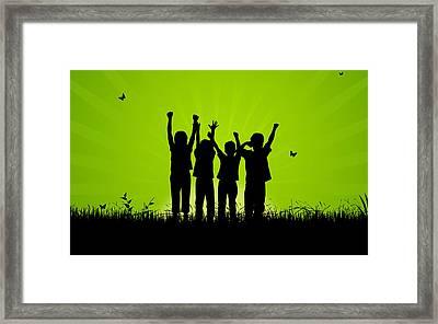 Jumping Kids Framed Print