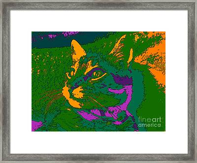 Framed Print featuring the digital art Jungle Cat by Hanza Turgul