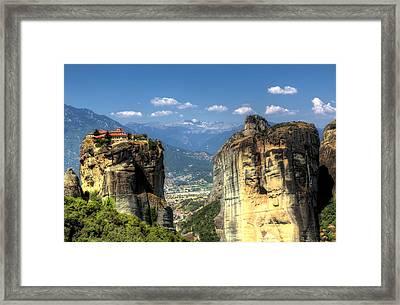 Kalambaka Beneath The Meteora Of Greece Framed Print