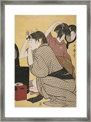 Kami-yui = Dressing The Hair, Kitagawa Framed Print by Artokoloro