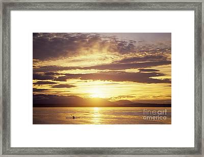 Kayaker On Puget Sound Sunset Framed Print