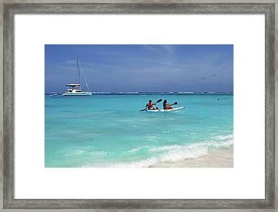 Kayaking The Waters Of Prickly Pear Framed Print by Lynn Seldon