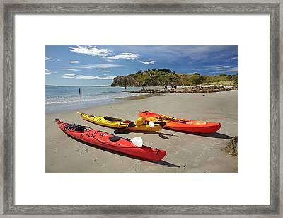 Kayaks On Beach Near Doctors Point Framed Print