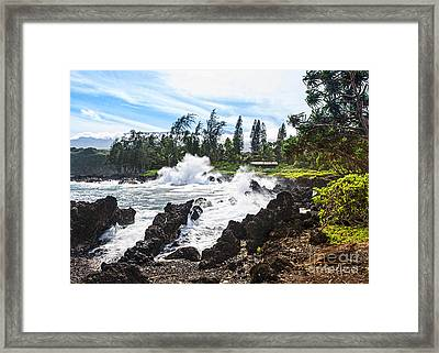 Keanae Waves - The Rugged Volcanic Coast Of The Keanae Peninsula In Maui. Framed Print by Jamie Pham