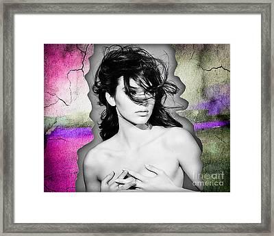 Kendall Jenner Modeling Framed Print by Marvin Blaine