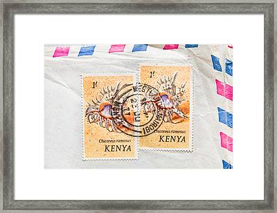 Kenya Stamp Framed Print by Tom Gowanlock