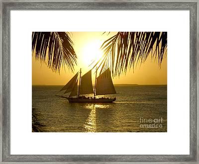 Key West Sunset Framed Print by Joan  Minchak